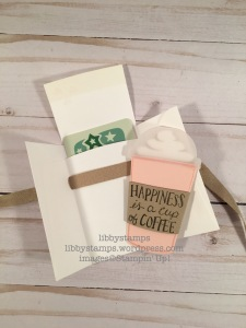 libbystamps, stampin up, Coffee Cafe, 3/8 Crumb Cake Classic Weave Ribbon, Coffee Cafe Bundle, Coffee Cups  Framelits, gift card holder, CCMC