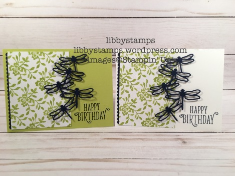 libbystamps, stampin up, Happy Birthday Gorgeous, Detailed Dragonfly Thinlits, Decorative Ribbon Border Punch, Fresh Florals DSP, We Create