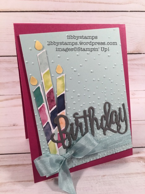 libbystamps, stampin up, Happy Birthday Thinlits, Naturally Eclectic DSP, Softly Falling EF, Tree Builder Punch, WWC