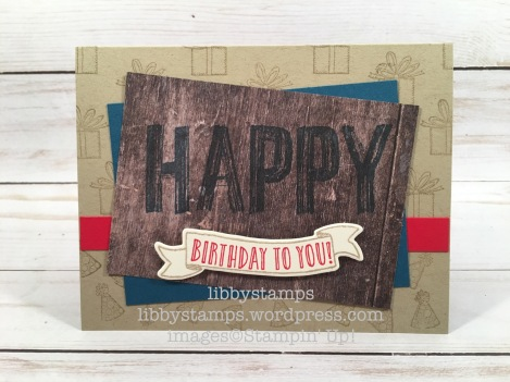 libbystamps, stampin up, Happy Celebrations, Banners for You, Bunch of Banners Framelits, Wood Textures DSP, WWC
