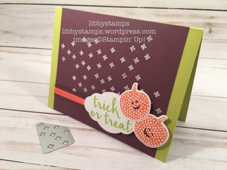 libbystamps, stampin up, Creep it Real, Pick a Pumpkin, Pick a Pumpkin Bundle, Patterned Pumpkins Thinlits, Pretty Label  Punch, Embossing Paste, Palette Knives , CCMC