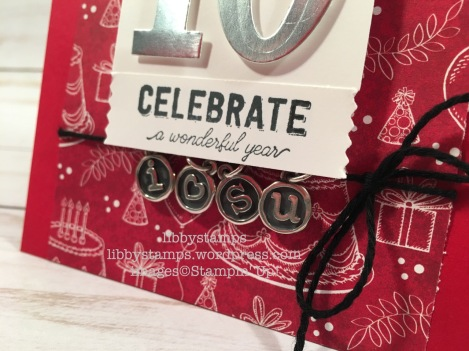 libbystamps, stampin up, Labels to Love, Large Numbers Framelits, Birthday Memories DSP, anniversary, James Avery