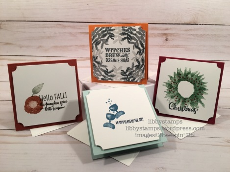 libbystamps, stampin up, Painted Harvest, Merry Cafe, Mini Pizza Boxes, Whisper White 3x3 Envelopes, Everyday Label Punch, CCMC