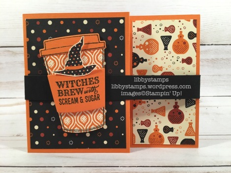libbystamps, stampin up, Merry Cafe, Coffee Cup Framelits, Spooky Night DSP, CCMC