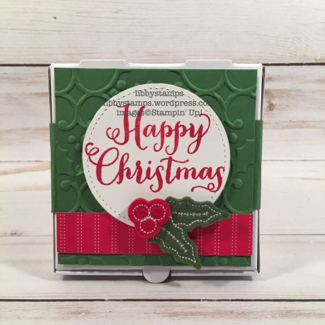 libbystamps, stampin up, Oh What Fun, Tags & Trimmings, Quilted Christmas DSP stack, Stitched Shapes Framelits, Mini Pizza Boxes, Holly EF, Stitched Felt Embellishments