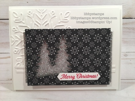 libbystamps, stampin up, Merry Patterns, Card Front Builder Thinlits, Merry Music Specialty DSP, Classic Label Punch, Winter Wonder EF, CCMC
