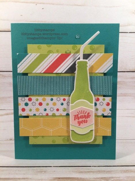 libbystamps, stampin up, OnStage 2017 make'n takes, Bubble Over, Bubble Over Bundle, Bottles & Bubbles Framelits, Bubble & Fizz DSP, Glitter & Clear Epoxy Shapes
