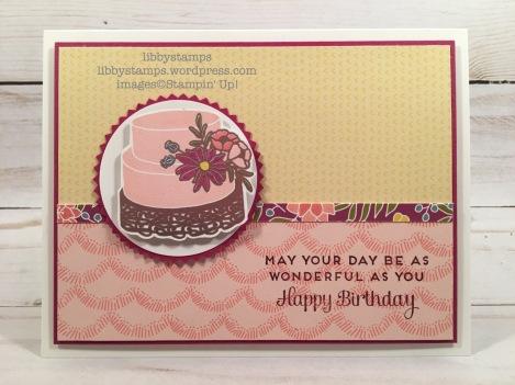 "libbystamps, stampin up, Tutti-Frutti Cards & Envelopes, Cake Soiree, Cake Soiree Bundle, Sweet Soiree DSP, 2"" Circle Punch, Starburst Punch, CCMC"
