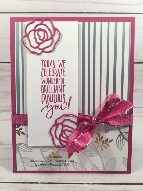 libbystamps, stampin up, Picture Perfect Birthday, Sweet Cake Framelits, Berry Burst 3/8 Metallic Edge Ribbon, TSOT, Sale-a-bration