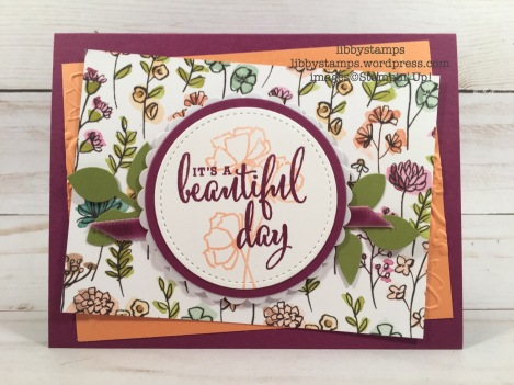 libbystamps, stampin up, Love What You Do, Got To Have It All Bundle, Layering Circles Framelits, Share What You Love DSP, Rich Razzleberry 1/4 Velvet Ribbon, Pearlized Doilies, Lovely Floral Dynamic Textured Embossing Folder, CCMC, Stitched Shapes Framelits