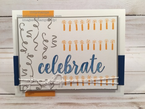 libbystamps, stampin up, Calligraphy Essentials, Birthday Backgrounds, Silver Baker's Twine, Aqua Painters
